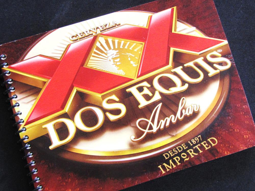 CERVESA BEER Mexican Dos Equis notebook journal recycled Made from an actual 6 pack container