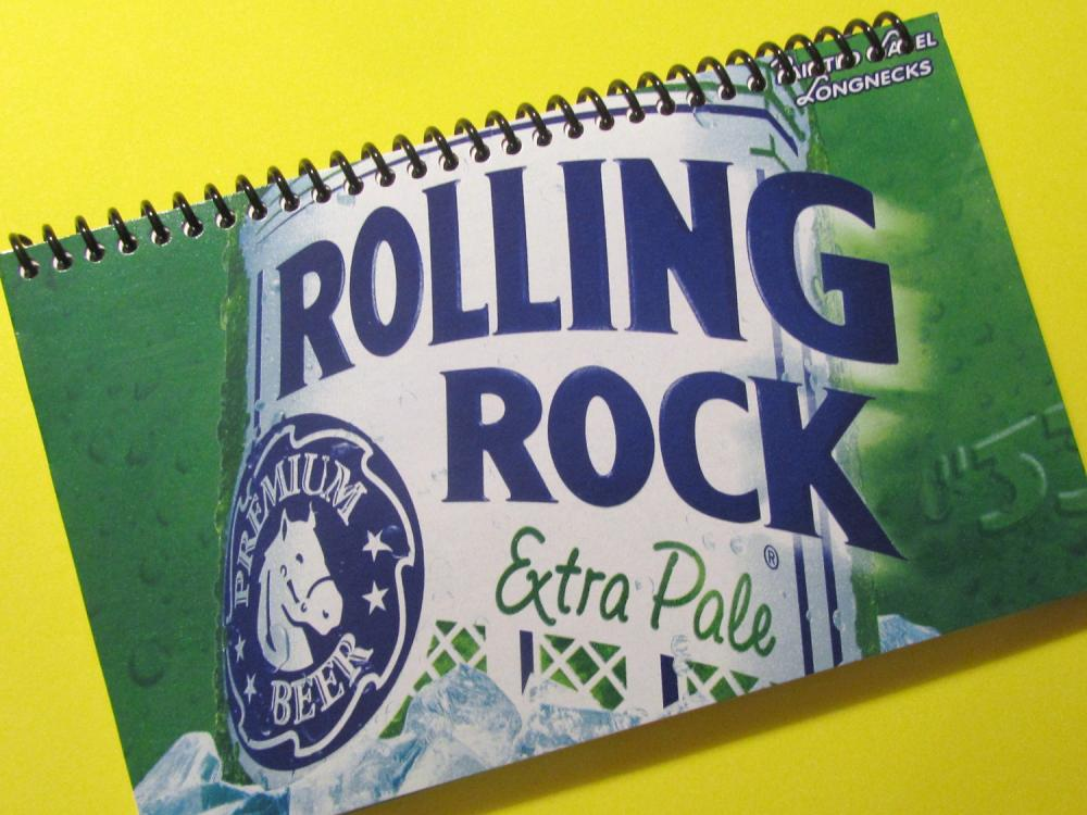 ROLLING ROCK BEER spiral upcycled journal notebook Recycled and Earth Friendly - green